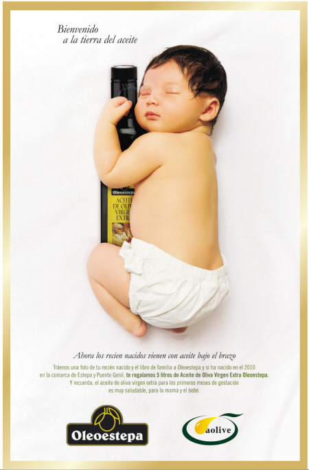 奥立福橄榄油的形象代言人是一个可爱的胖娃娃,睡梦中恬然的他宛若一