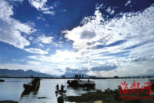 """福州乌龙江畔,蓝天白云,风和日丽,""""摸蚬(xiǎn)族""""三三两两,在江边"""