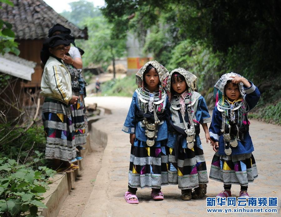 """白倮人/5月14日,几名身着传统服饰的彝族小姑娘参加""""荞菜节""""。"""