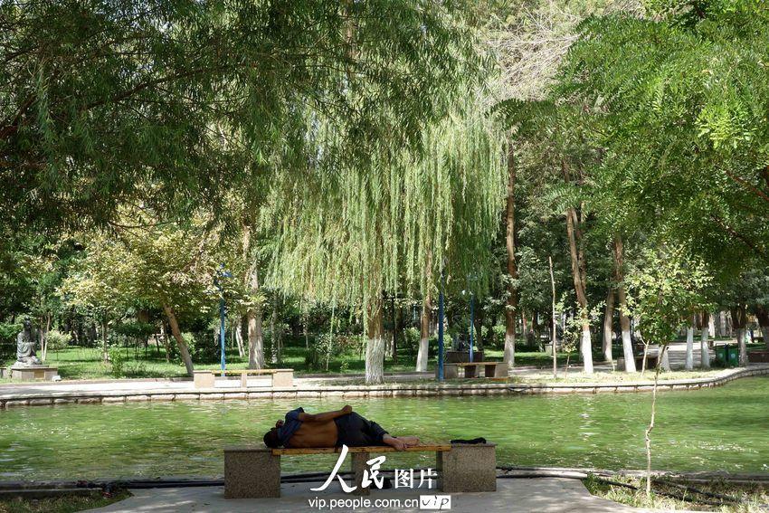 一名民工旁若无人地躺在新疆吐鲁番市麦西来甫广场湖边树荫下的凳子上