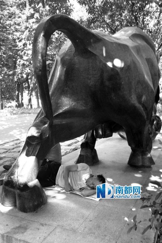 广州雕塑公园内,游客在《牛顶熊》雕塑下睡觉.