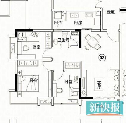 110平方米三房兩廳房屋設計圖展示