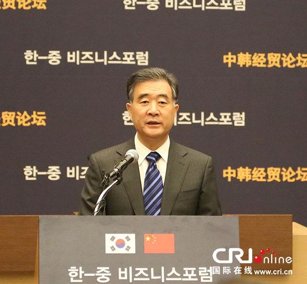 """汪洋:中韓fta將為兩國經貿合作裝上""""新引擎""""(圖)圖片"""