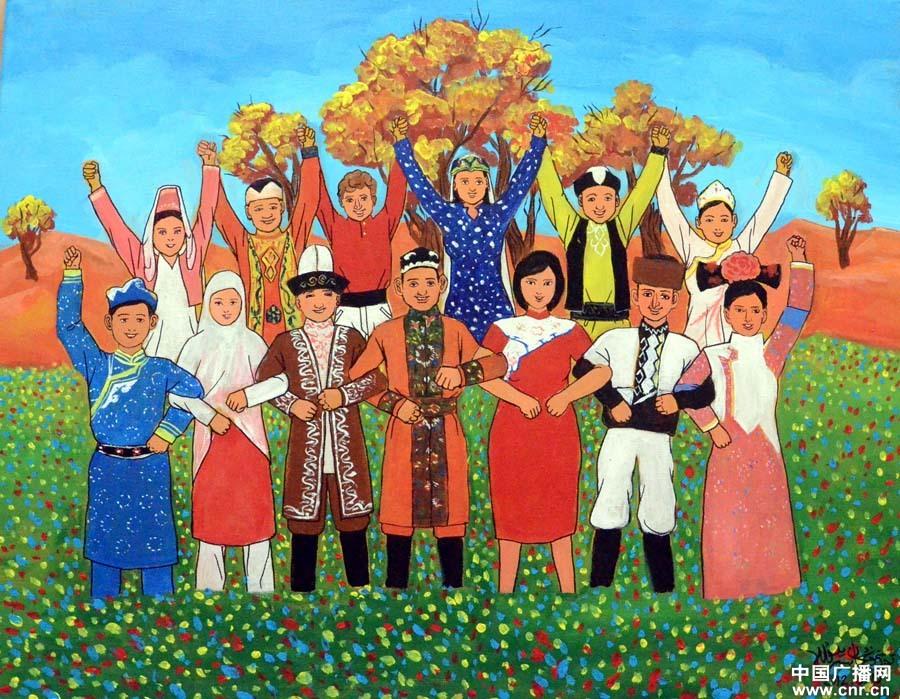 新疆民族大团结画_新疆阿瓦提县农民画:各民族大团结(中广网发 李昆鹏摄)